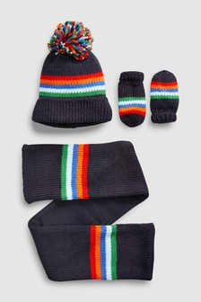Rainbow Stripe Hat, Gloves And Scarf Set (Younger)
