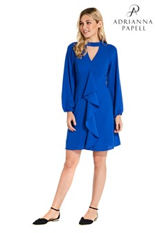 Adrianna Papell Blue Fancy Crepe Ruffle Skirt Dress