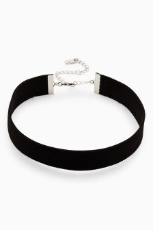 Wide Suede Effect Choker