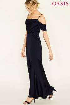 Oasis Blue Amy Slinky Cowl Neck Maxi Dress