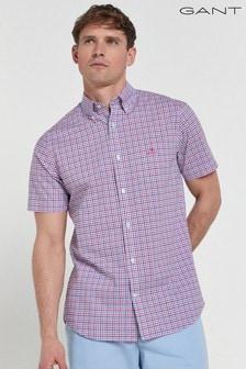 GANT Pink Regular Broadcloth Three Colour Gingham Short Sleeve Shirt