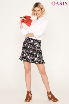 Oasis Black  Tropical Flower Linen Ruffle Mini Skirt