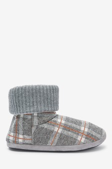 Check Slipper Boots