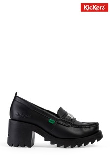 Kickers® Black Klio Heeled Leather Loafers