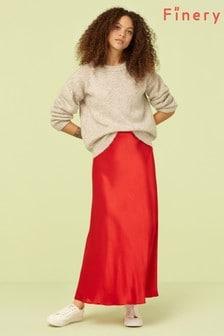 Finery London Red Alberte Satin Midi Skirt