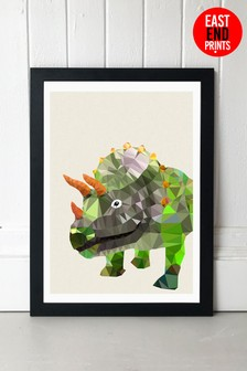 East End Prints Triceratops Print By Studio Cockatoo Framed Print