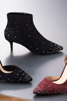 Embellished Kitten Heel Ankle Boots