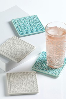Set of 4 Crackle Glaze Coasters
