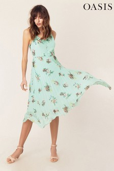 Oasis Multi Green Floral Pleated Cami Dress