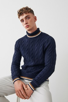 Tipped Cable Roll Neck Jumper