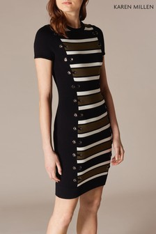 Karen Millen Black Lace-Up Detail Stripe Knit Dress