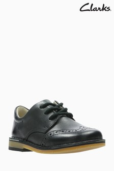 Clarks Black Leather Comet Heath Brogue Lace-Up First Shoe