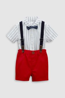 Shirt And Shorts Set With Braces And Bow Tie (3mths-6yrs)
