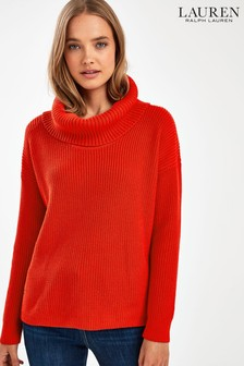 Lauren Ralph Lauren Bright Red Adelsa Roll Neck Jumper