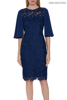 Gina Bacconi Blue Beth Guipure Dress With Cape Sleeves