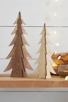 Set of 2 Slotted Wooden Trees