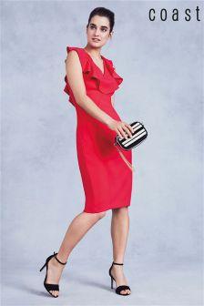 Coast Raspberry Bonita Ruffle Shift Dress