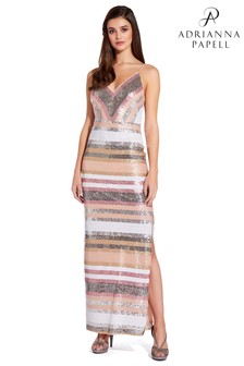 Adrianna Papell Silver Spaghetti Sequins Gown