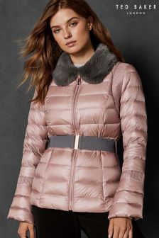 Ted Baker Pink YELTA Faux Fur Collar Down Jacket
