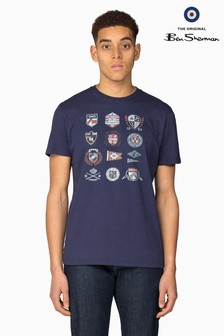 Ben Sherman Main Line Blue Ivy Badges T-Shirt