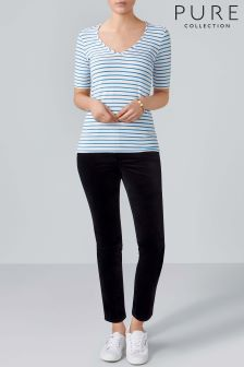 Pure Collection Blue Jersey V-Neck Bardot Top
