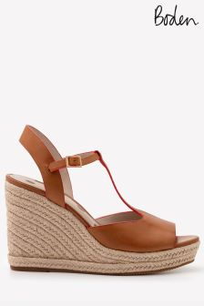 Boden Brown T-Bar Espadrille Wedge