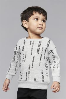 Slogan Printed Crew (3mths-6yrs)