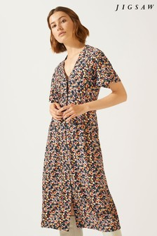 Jigsaw Black Mini Sun Bleached Floral Dress