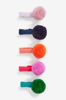 Pom Pom Rainbow Bright Hair Clips