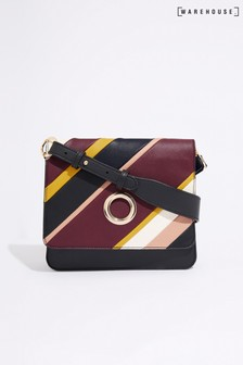 Warehouse Black Stripe Panel Cross Body Bag