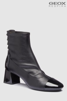 Geox Seylise Mid Black Heeled Leather Ankle Boot