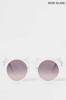 River Island White Crystal Cat Sunglasses