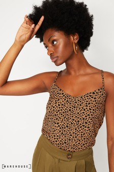 Warehouse Tan Leopard Cross Back Cami Top