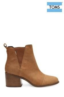 TOMS Tan Block Heel Ankle Boots
