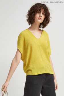 French Connection Yellow Susui Seersucker Jersey V-Neck Top