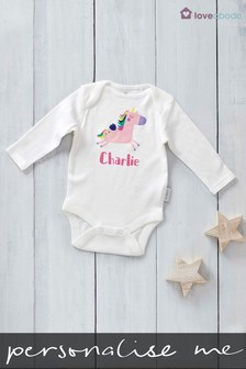 Personalised Printed Unicorn Long Sleeved Bodysuit by Loveabode