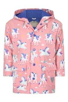 Girls Pink Magical Pegasus Colour Changing Raincoat