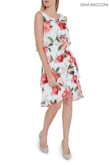 Gina Bacconi White Marika Floral Tiered Chiffon Dress