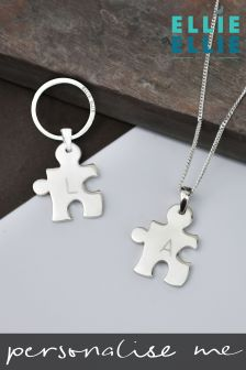 Personalised Jigsaw Necklace And Keyring Set By Ellie Ellie