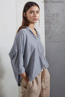 Синяя рубашка в полоску с короткой планкой French Connection Tatus