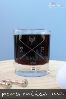 Personalised Golf Whisky Glass by Signature PG