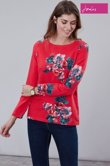 Joules Red Harbour Print Long Sleeve Jersey Top
