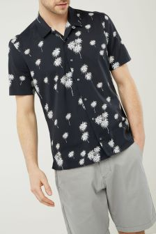 Short Sleeve Palm Print Shirt