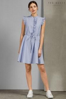 a995a5f6d4e304 Ted Baker Blue Ruffle Shift Dress