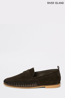 River Island Choc Side Weave Saddle Loafer