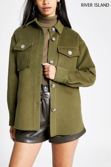 River Island Khaki Overshirt Coat
