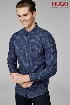 HUGO Navy Evory Print Shirt