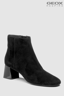 Geox Seylise Mid Black Heeled Suede Ankle Boot