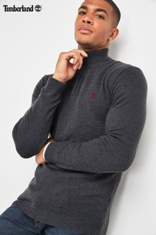 Timberland® Grey Merino Half Zip Sweater
