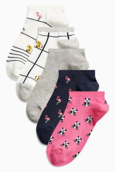 Animal Pattern Trainer Socks Five Pack